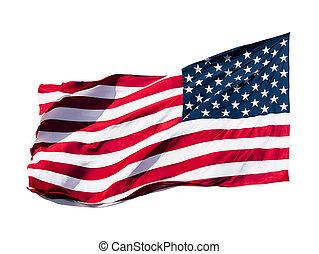 amerykańska bandera, na, białe tło