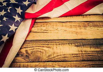 amerykańska bandera, na, drewniany, tło