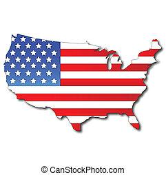amerykańska bandera, na, niejaki, usa, mapa