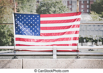 amerykańska bandera, na, płot