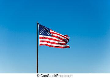 amerykańska bandera, na, stary, maszt flagowy