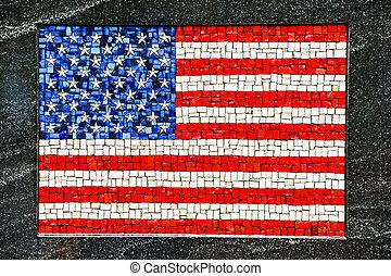 amerykańska bandera, robiony, od, mały, mozaika, dachówki