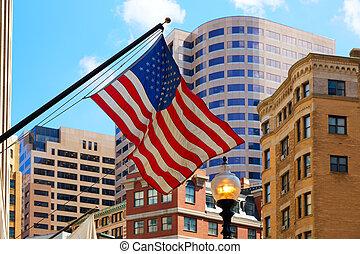 amerykańska bandera, w, boston, śródmieście, massachusetts