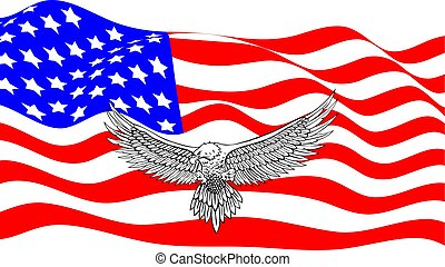 amerykańska bandera, z, łysy orzeł