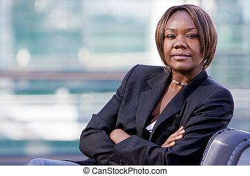 amerykańska kobieta, czarnoskóry, handlowy, afrykanin