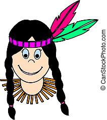 amerykańska kobieta, indianin, krajowiec