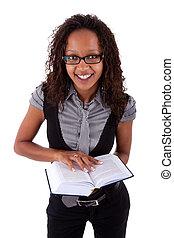 amerykańska kobieta, książka, dzierżawa, afrykanin