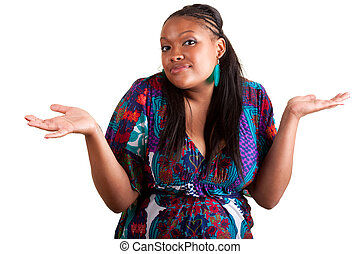 amerykańska kobieta, młody, wahając, afrykanin