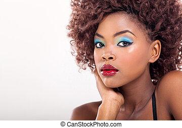amerykańska kobieta, makijaż, afrykanin