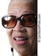 amerykańska kobieta, starszy, afrykanin