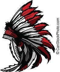 amerykański indianin, krajowiec, głowa, pióro