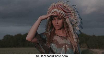 amerykański indianin, krajowiec, kobieta