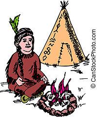 amerykański indianin, krajowiec, szef, maskotka