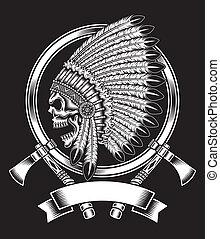 amerykański indianin, szef, czaszka, krajowiec