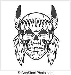 amerykański indianin, szef, czaszka