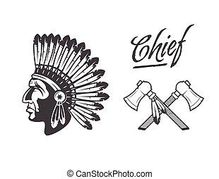 amerykański indianin, szef, fryzura, krajowiec