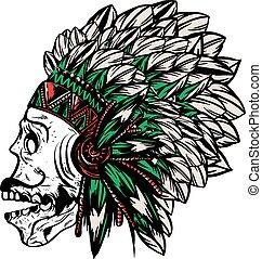 amerykański indianin, szef, headdr, krajowiec