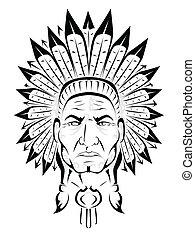 amerykański indianin, szef