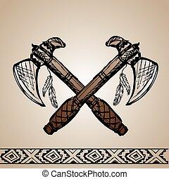 amerykański indianin, tomahawks, krajowiec