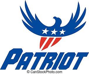amerykański orzeł, przelotny, usa bandera, patriota, retro