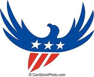 amerykański orzeł, przelotny, usa bandera, retro