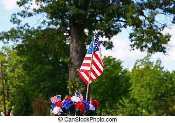 amerykański patriotyzm, -, bandera, i, drzewo 2