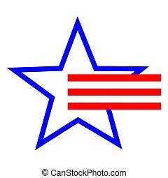 amerykański symbol, gwiazda, pasy, czerwony