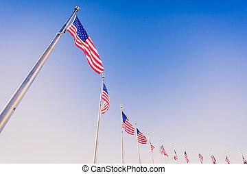 amerykańskie bandery, na, maszty flagowe