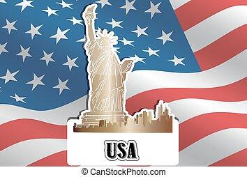 ameryka, stany, zjednoczony, ilustracja, usa