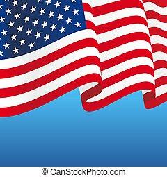 amerykanka, abstrakcyjny, tło., bandera, falisty, illustration., wektor