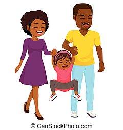 amerykanka, afrykanin, pieszy, rodzina, szczęśliwy