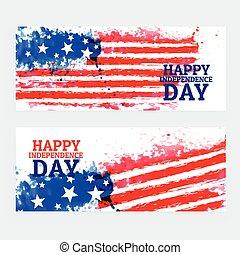 amerykanka, akwarela, bandera, chorągwie, dzień, niezależność