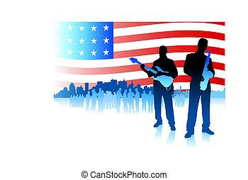 amerykanka, banda, bandera, muzyka, tło, patriotyczny