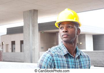 amerykanka, budowlaniec, afrykanin