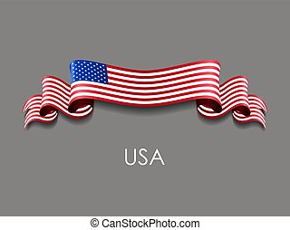 amerykanka, falisty, tło., wstążka, bandera, wektor, illustration.