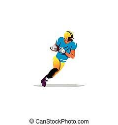 amerykanka, football., wektor, illustration.