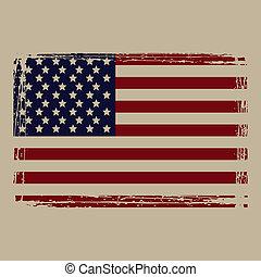amerykanka, grunge, bandera, vector., style.