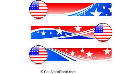 amerykanka, guzik, bandera, chorągwie