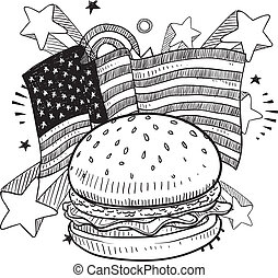 amerykanka, hamburger, rys