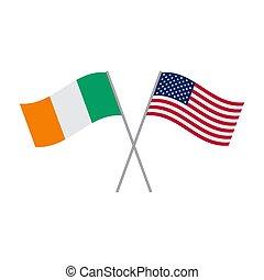 amerykanka, irlandzki, tło, bandery, biały, odizolowany, wektor