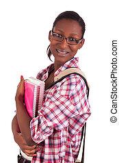 amerykanka, kolegium, młody, student, afrykanin