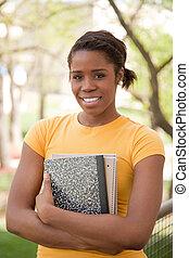 amerykanka, kolegium, samiczy student, afrykanin