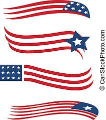 amerykanka, komplet, bandery, ilustracja