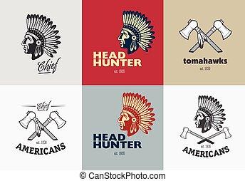 amerykanka, komplet, indianin, symbole