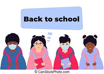 amerykanka, maska, asekurować, książki, wstecz, dzieciaki, backpacks, chłopcy, iść, gotowy, afro, uczniowie, school., nosić, twarz, virus.