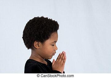 amerykanka, modlący się, dziewczyna, afrykanin