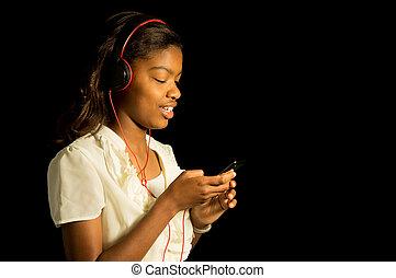 amerykanka, muzyka, dziewczyna, słuchający, afrykanin