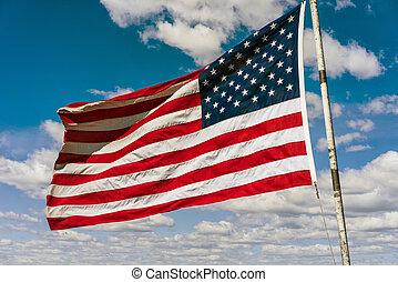 amerykanka, narodowa bandera, przed, boston, niebo