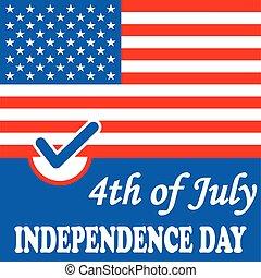 amerykanka, niezależność, bandera, tło, dzień
