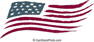 amerykanka, oczyszczony szczotką, bandera, usa